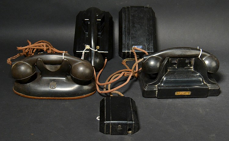 (3) DIFFERENT VINTAGE KELLOGG PLASTIC MANUAL TELEPHONES AND EXTRAS