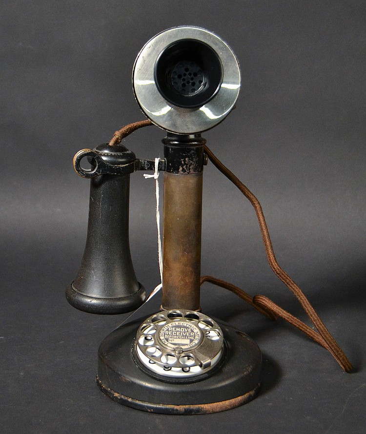 VINTAGE KELLOGG CANDLESTICK TELEPHONE WITH NORTH ELECTRIC CO. ROTARY DIAL - RECEIVER CAP ALSO MARKED FOR KELLOGG
