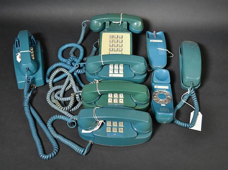 (7) DIFFERENT VINTAGE DARK BLUE PLASTIC TELEPHONES