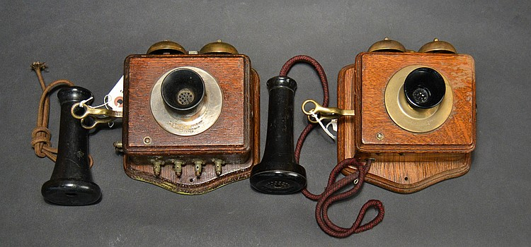 "(2) DIFFERENT VINTAGE ""CONNECTICUT"" - CONN. TEL. & ELEC. CO. INC. - MERIDEN CT. - OAK INTERCOM SYSTEMS WITH BRASS HOOKS"