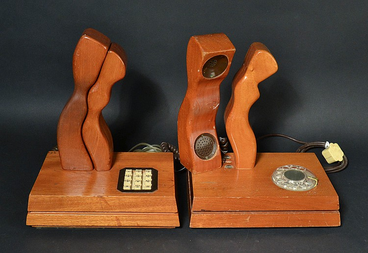 "(2) DIFFERENT TELECONCEPTS CARVED WOODEN ""ADAM AND EVE"" DESK TELEPHONES"
