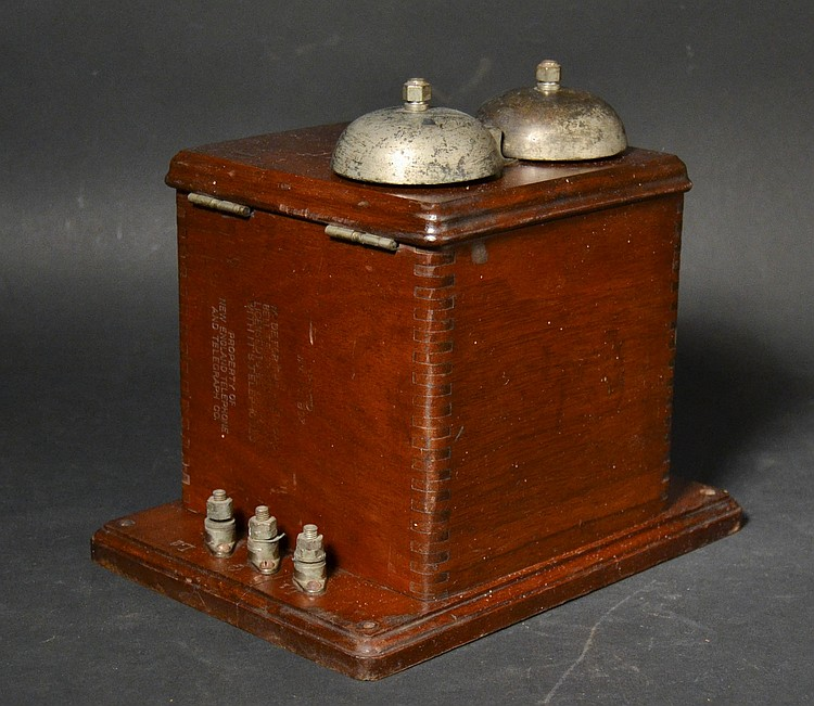 "19TH CENT. WESTERN ELECTRIC TYPE ""101E"" TELEPHONE SUBSET IN A BLACK WALNUT CASE"