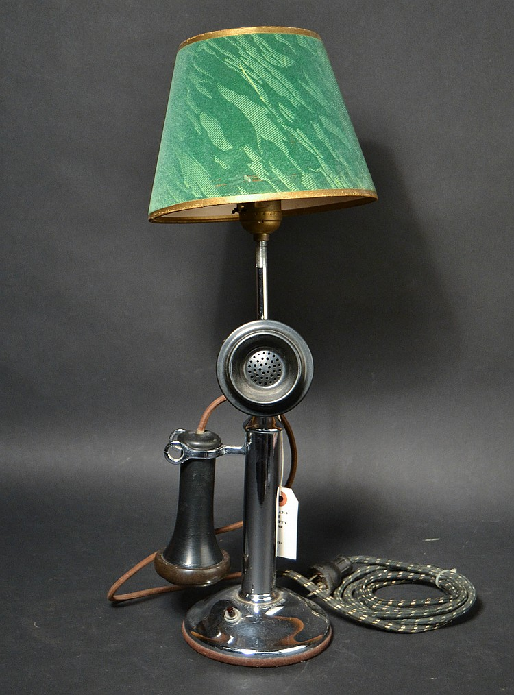 "VINTAGE WESTERN ELECTRIC CO. ""20"" TYPE - CANDLESTICK TELEPHONE - WITH LATER CHROME FINISH - CONVERTED TO A TABLE LAMP WITH SHADE"