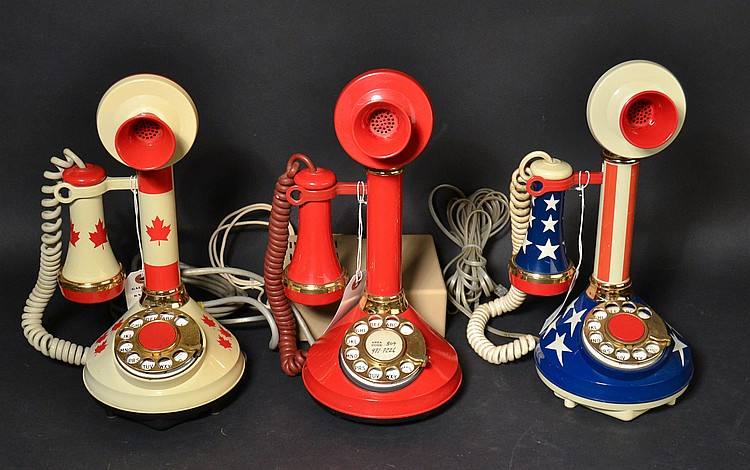 (3) DIFFERENT VINTAGE AMERICAN TELECOMMUNICATIONS CORP. PLASTIC CANDLESTICK TELEPHONES