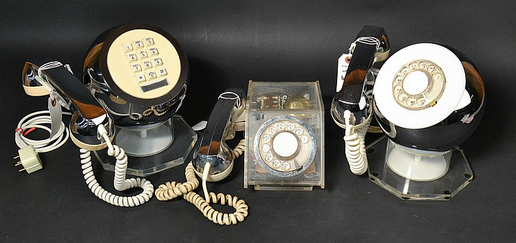 (3) DIFFERENT VINTAGE TELECONCEPTS PLASTIC AND CHROME TELEPHONES