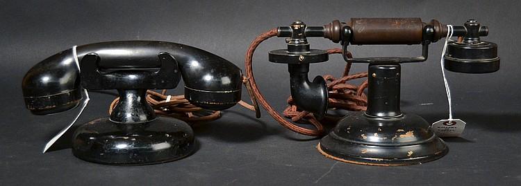 (2) DIFFERENT VINTAGE LOEFFLER CRADLE TELEPHONES