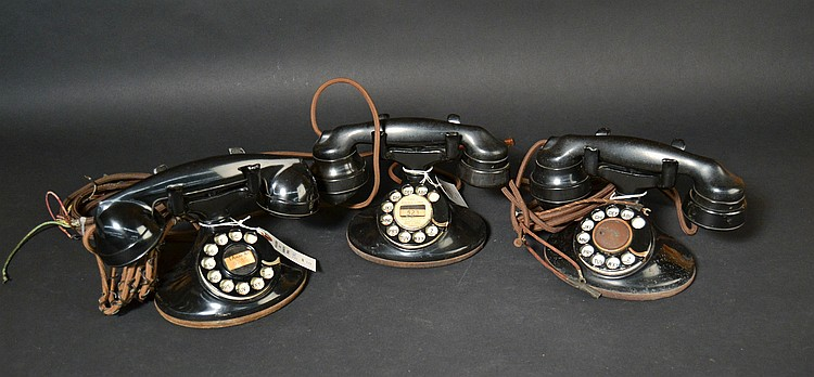 "(3) DIFFERENT VINTAGE WESTERN ELECTRIC DESK TELEPHONES WITH ""149-B"" CELLULOID NUMBER PLATES"