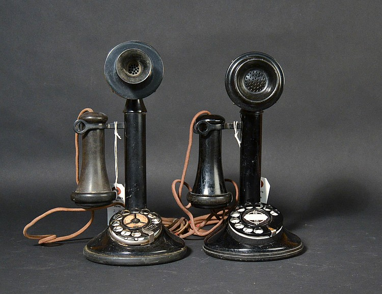 (2) DIFFERENT VINTAGE CANDLESTICK TELEPHONES BY THE AUTOMATIC ELECTRIC CO.