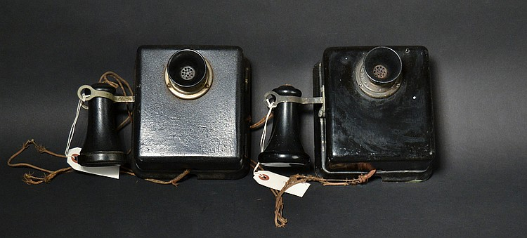 "(2) DIFFERENT VINTAGE FEDERAL TELEPHONE MFG. CORP. - BUFFALO N.Y. WALL INTERCOM UNITS WITH ""SHORTY"" RECEIVERS"