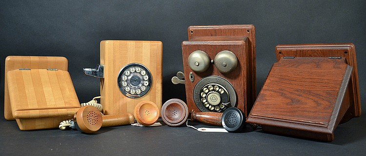 (2) DIFFERENT VINTAGE WESTERN ELECTRIC DESIGN LINE WALL TELEPHONES
