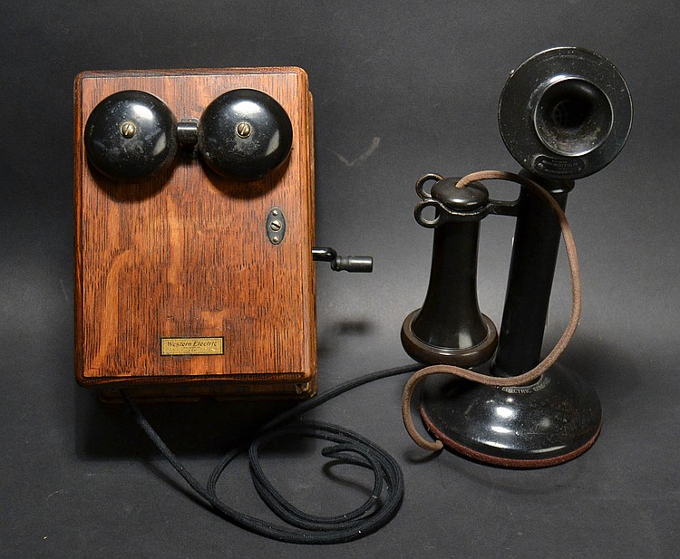 "VINTAGE WESTERN ELECTRIC ""20AL"" CANDLESTICK TELEPHONE WITH MODEL ""315h"" OAK WESTERN ELECTRIC MAGNETO SUBSET"