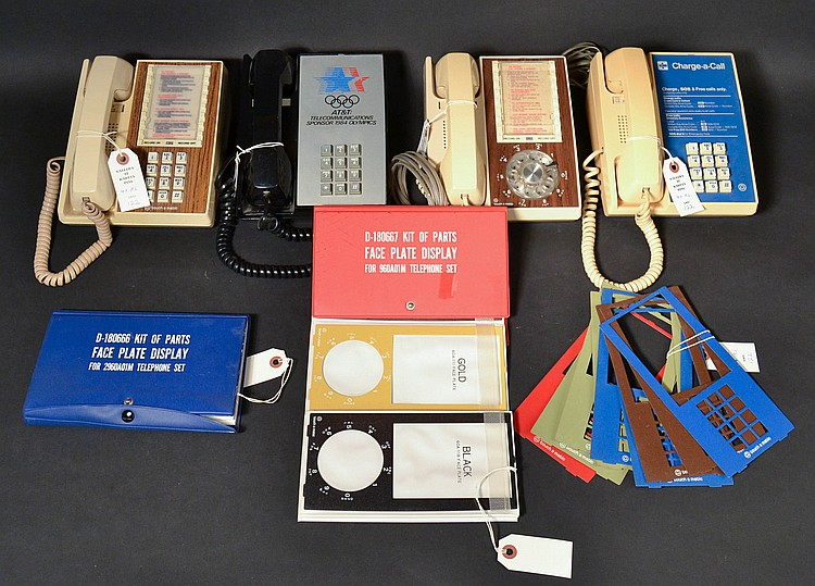 "(4) DIFFERENT VINTAGE ""TOUCH-A-MATIC"" DESK TELEPHONES AND EXTRA FACE PLATES"