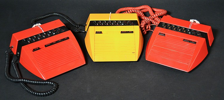 "(3) MISC. VINTAGE TELEQUEST COLORED PLASTIC ""FIERO TALKER"" DESK OR WALL TELEPHONES"