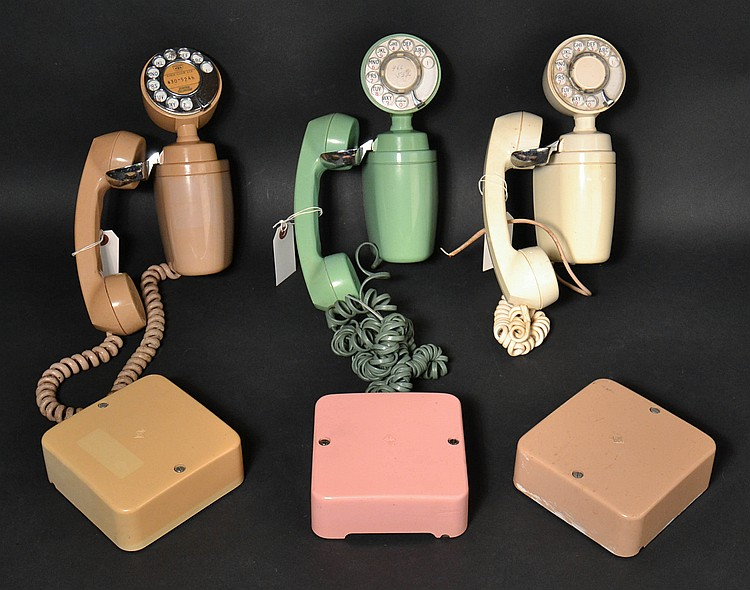 "(3) DIFFERENT VINTAGE AUTOMATIC ELECTRIC CO. COLORED PLASTIC ""SPACE MAKER"" ROTARY WALL TELEPHONES WITH RINGER BOXES - MODEL ""183"""