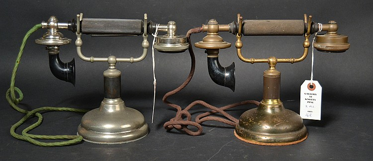 (2) DIFFERENT VINTAGE FEDERAL GRAB-A-PHONE CRADLE TELEPHONES