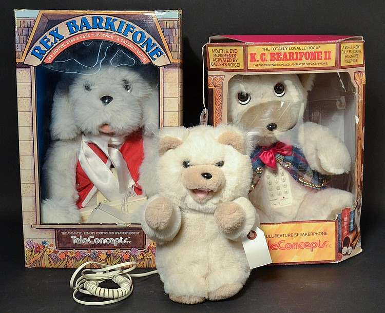 (3) DIFFERENT VINTAGE TELECONCEPTS PLUSH ANIMAL NOVELTY TELEPHONES