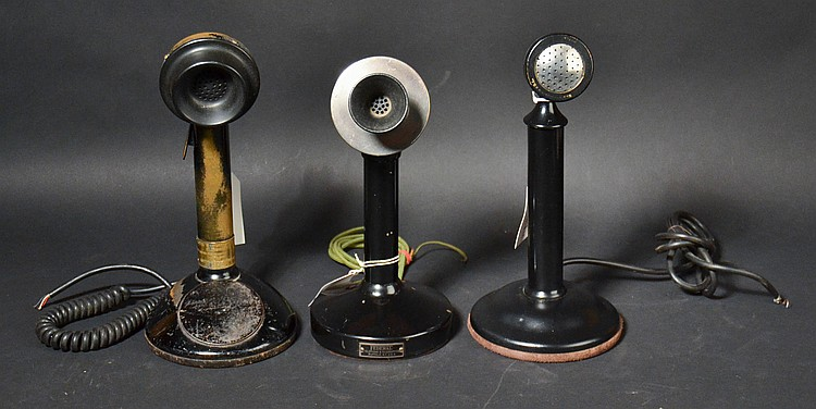 (3) DIFFERENT VINTAGE CANDLESTICK MICROPHONES