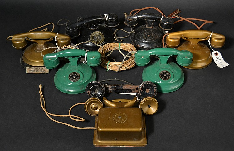 (7) DIFFERENT VINTAGE PAINTED METAL INTERCOM TELEPHONE SETS