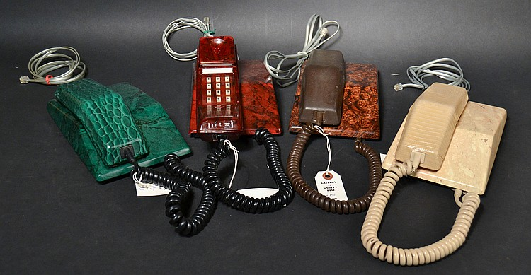 (4) DIFFERENT VINTAGE AMERICAN CLUB LIMITED EDITION - CONTEMPRA STYLE TOUCHTONE DESK TELEPHONES WITH EXOTIC LEATHER CASES