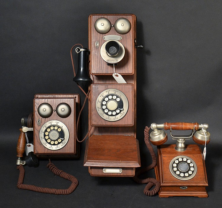 (3) DIFFERENT VINTAGE WESTERN ELECTRIC DESIGN LINE WOODEN TELEPHONES