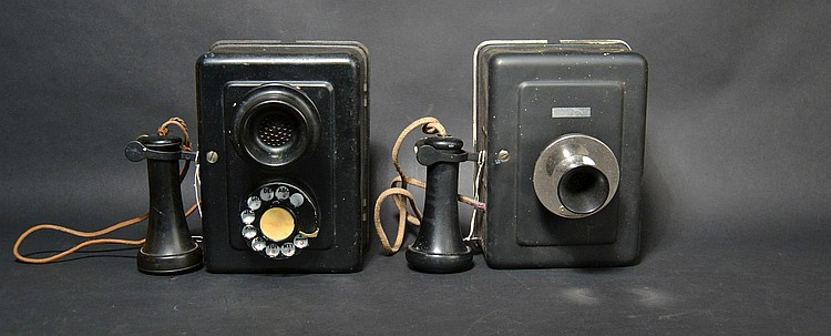(2) DIFFERENT VINTAGE WESTERN ELECTRIC METAL COMPACT WALL TELEPHONES