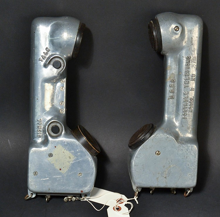 "(2) VINTAGE ALUMINUM U.S. FOREST SERVICE PORTABLE TELEPHONES MODEL ""B"" - MARKED ""USFS"""
