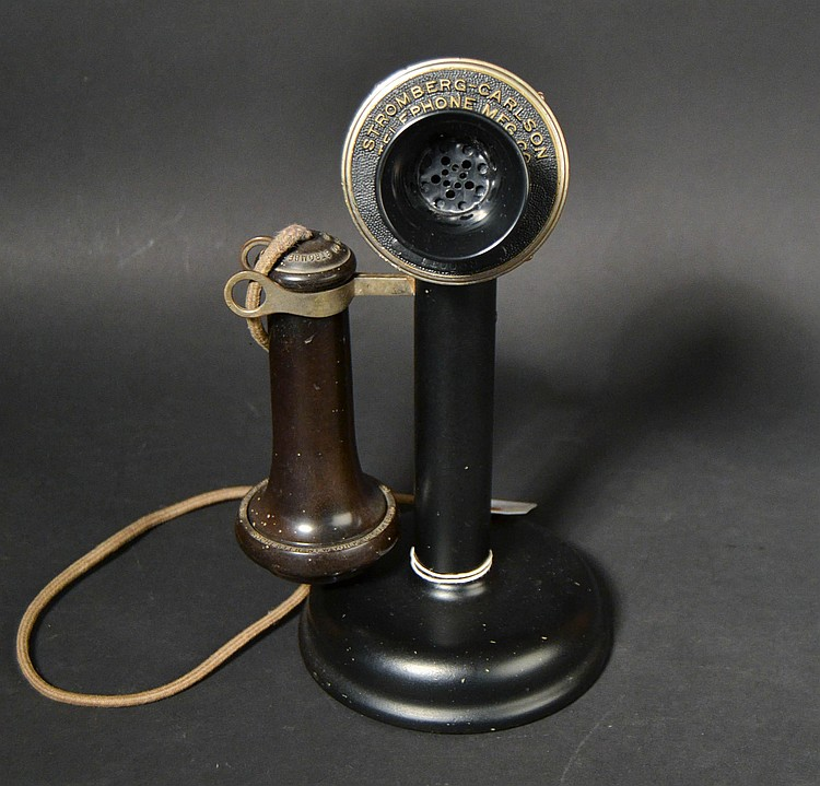 VINTAGE STROMBERG-CARLSON TELEPHONE MFG. CO. - ROCHESTER N.Y. - CANDLESTICK TELPHONE WITH EMBOSSED NAME PLATE