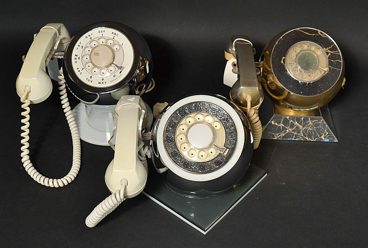 "(3) DIFFERENT VINTAGE TELECONCEPTS ""CHROMEFONES"" IN GOLD AND SILVER WITH VARIOUS BASES - ALL ROTARY TYPE"