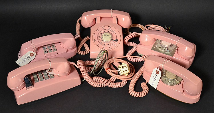 (5) DIFFERENT VINTAGE PINK PLASTIC TELEPHONES