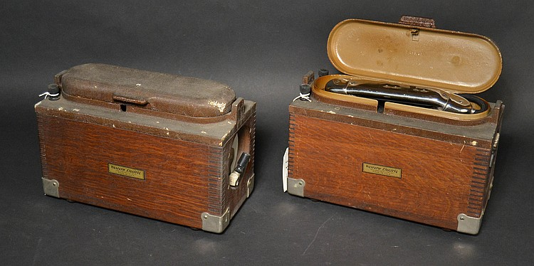"(2) VINTAGE WESTERN ELECTRIC MODEL ""528A"" FIELD TELEPHONES IN OAK CASES -WITH ""1H"" HANDSETS"