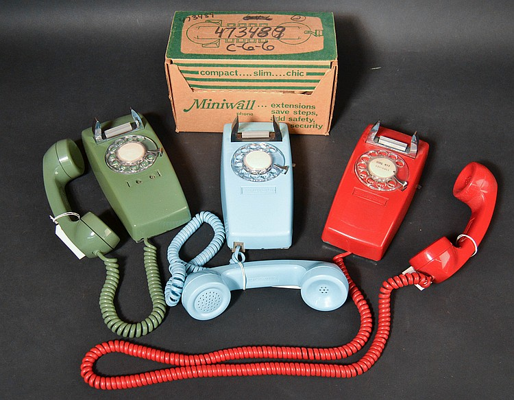 "(4) DIFFERENT VINTAGE MODEL ""1654"" STROMBERG-CARLSON COLORED PLASTIC WALL TELEPHONES"