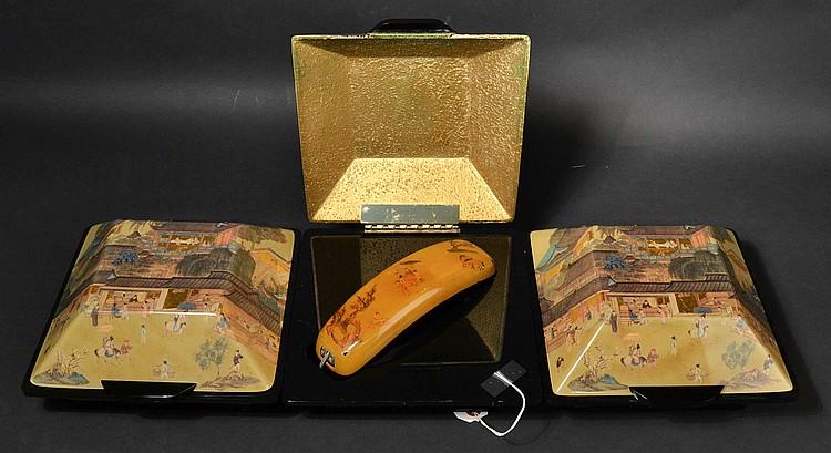 """(3) VINTAGE TELECONCEPTS """"DYNASTY VILLA"""" ORIENTAL VILLAGE LANDSCAPE CHEST TELEPHONES"""