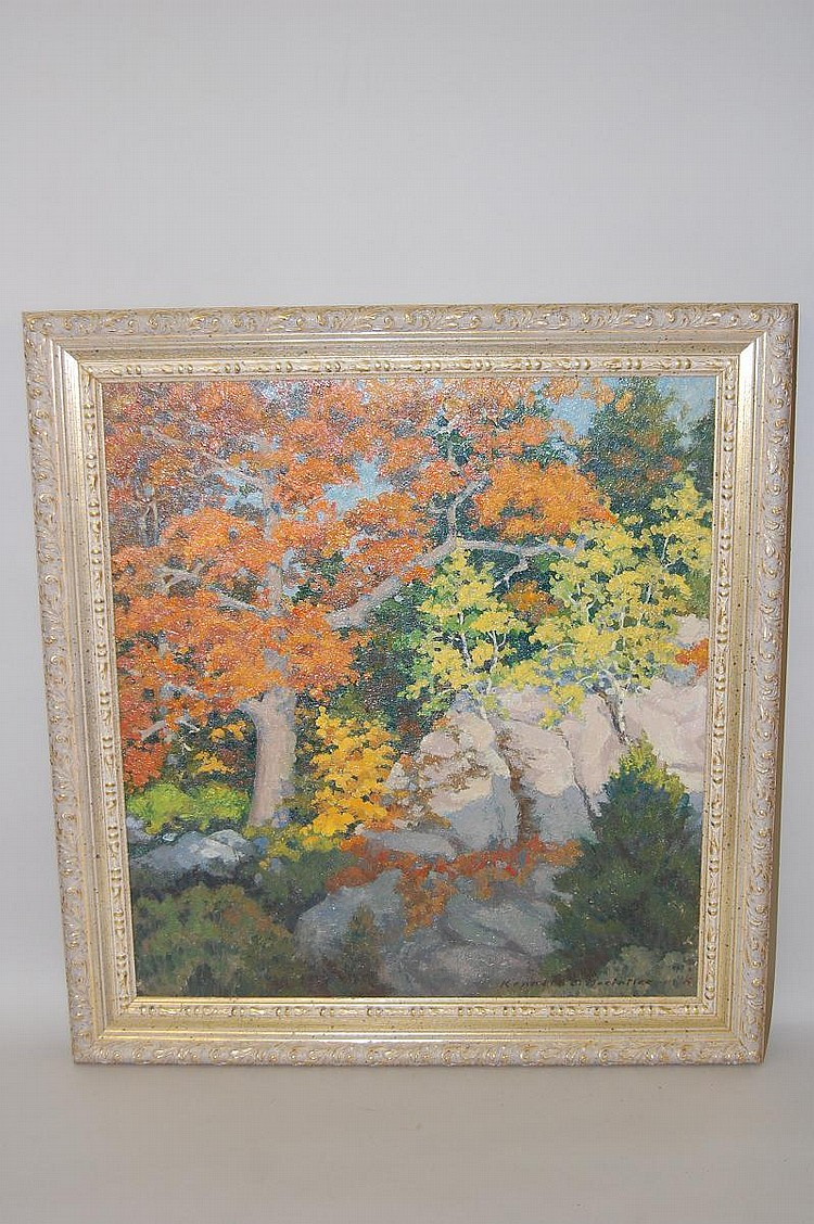 KENNETH MACINTIRE AUTUMN LANDSCAPE OIL PAINTING