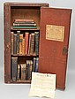 19TH CENT. PAINTED WALL CABINET LABELED AMERICAN SEAMEN'S FRIEND SOCIETY'S LOAN LIBRARY W/ MISC. BOOKS