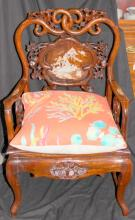 Pair of Chinese Style & Mother of Pearl Inlaid Arm Chairs