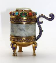 Chinese Republic Period Jade & Semi-Precious Stones Censer