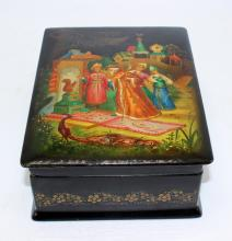 Russian Lacquer Box with Hinge Lid