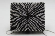 Judith Leiber Zebra Crystal Bag with cloth outer bag