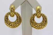 Contemporary 18Kt YG, Door Knocker Earrings