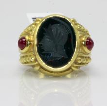 Judith Ripka 18Kt YG Bloodstone & Chalcedony Signed Ring