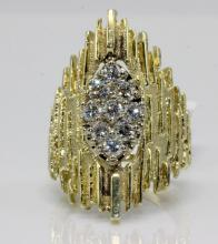 14Kt YG & .90ct. Diamond Retro Style Ring