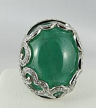 18Kt Diamond Ring w/ 31.21ct Cabochon Emerald Ring