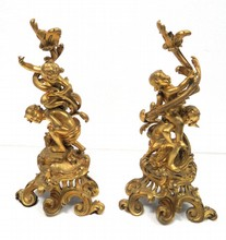 Pair of Louis XV Style Bronze Mounted Figural Chenets