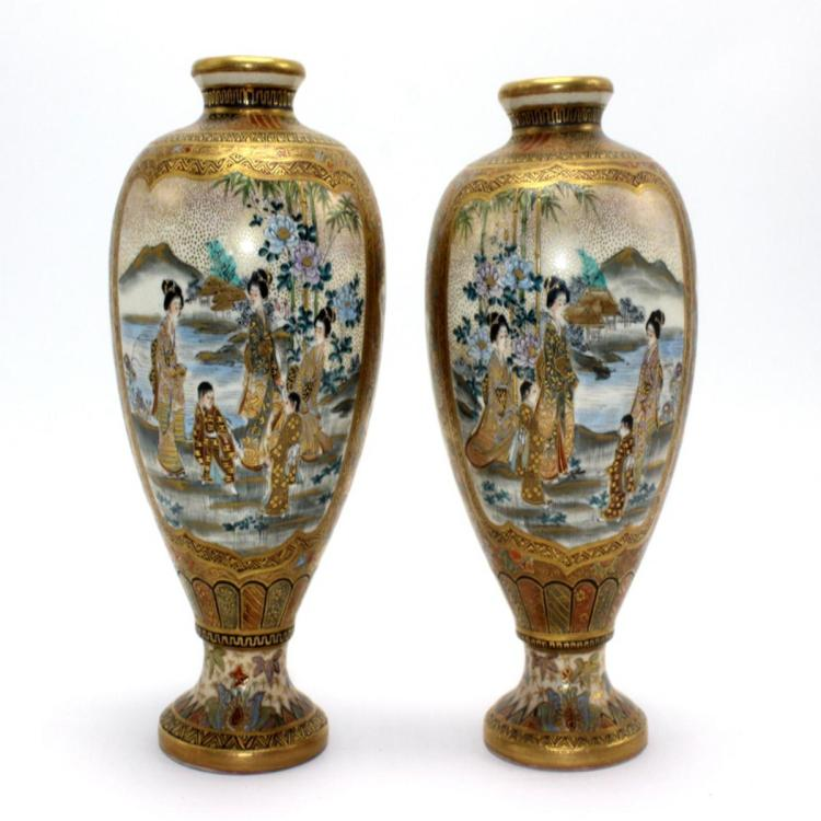 Pair of Antique Japanese Satsuma Vase