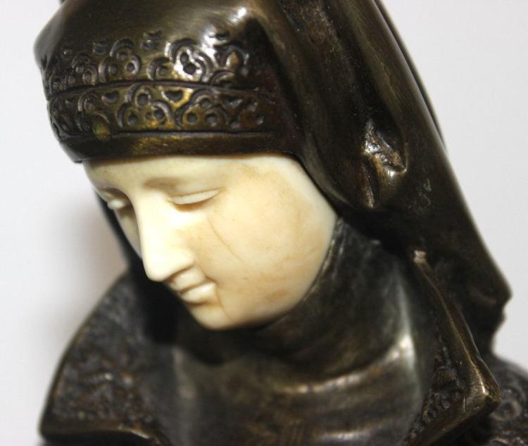 antique a carrier belleuse liseuse bronze ivory figure. Black Bedroom Furniture Sets. Home Design Ideas