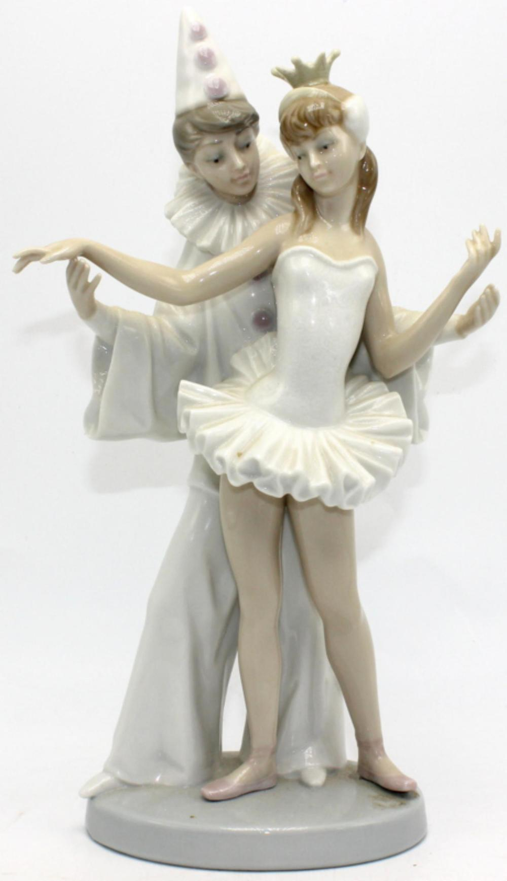 Lladro #4482 Carnival Couple Clown & Ballerina Porcelain Fig