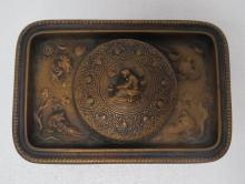 Bronze Lion Frosted Inkwell