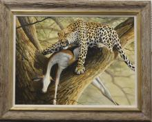 Grant Hacking Cheetah In A Tree Oil on Canvas