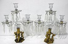 Pair of Gilt Bronze & Crystal Candelabras