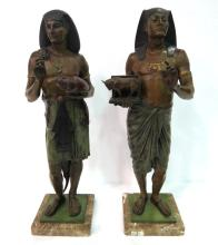 Pair of Emile Picault Bronze Egyptian Warriors